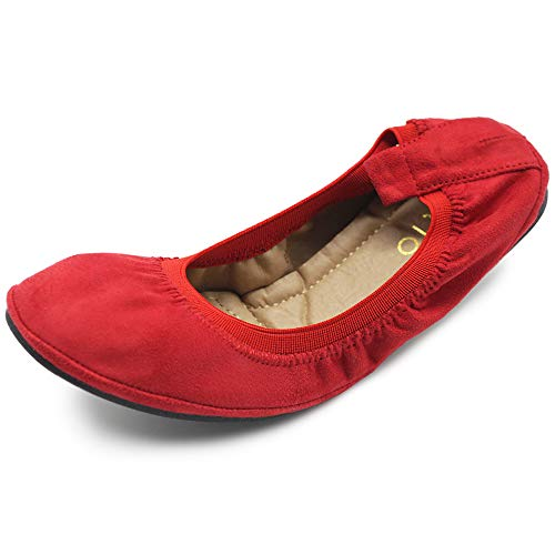 Ollio Women's Shoe Faux Suede Comfort Ballet Flat BN16(6 B(M) US, Red)