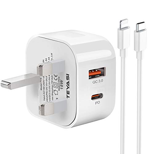 TEYASI Phone 12 USB C Fast Charger Plug and Cable 2M Quick Charging for iPhone 12/12 Pro/12 mini/12 Pro Max/11 Pro Max X XR XS 8 SE 2020 iPad,18W Type C PD 3.0 Power Adapter Plug UK with Lead