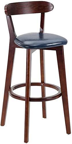 WRISCG Sillas de Bar Cocina Taburetes de Desayuno Patas de Madera - Taburetes de Bar Silla de mostrador Mesa de Comedor Taburete Asiento de Piel sintética Vintage Rústico Industrial, Azul