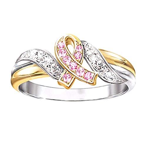 Profusion Circle - Anillo de boda con incrustaciones de diamantes de imitación para mujer, regalo de compromiso, color rosa