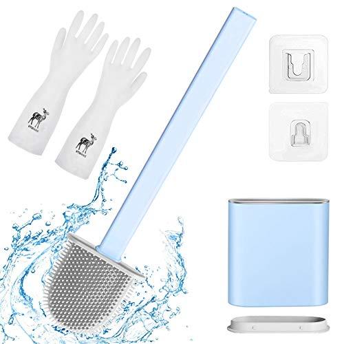 Scopino per WC con Supporto,Scopino in Silicone ad Asciugatura,Silicone Scopini Bagno,Spazzolino da Toilette, e contenitore,Spazzola WC Bagno,Asciugatura Rapida Spazzola da Toilette (Blu)