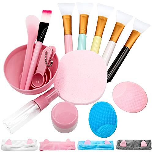 5 Stück Maskenpinsel, Maskenpinsel Set Silikon mit Haarbänder und Maskenschüssel, Gesichtsmaske Pinsel Set Kosmetik Make-up Pinsel Beauty Produkte für DIY Maske, Schlammmaske oder...