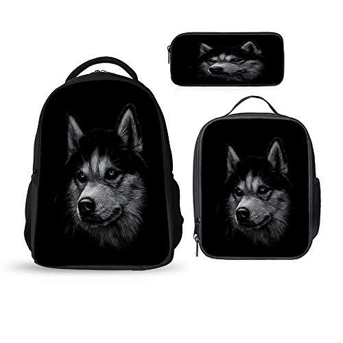 SARA NELL Siberian Husky Dog Animal Backpacks Set 3 Pieces Lunch Bag Pen Pencil Case for Kids Lightweight Daypack for Boys Girls