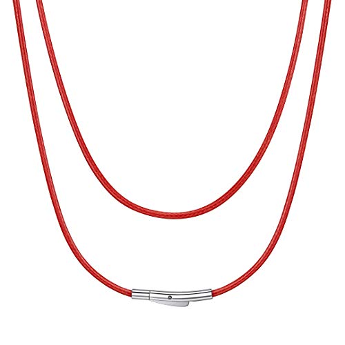 Leather Cord Necklace for Pendant Red Color Men Women Chains 2mm 24 inch