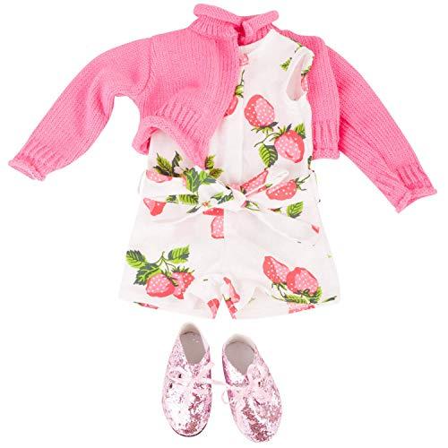 Götz 3402845 Kombination Berries Jumpsuit - Puppenbekleidung Gr. XL - 4-teiliges Bekleidungs- und Zubehörset für Stehpuppen 45 - 50 cm