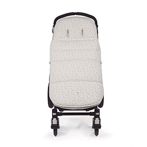 Walking Mum. Saco silla de paseo Dreamer. Funda para silla de paseo. Tejido en punto ideal para invierno. Uso universal. Color Beige/Estampado de estrellas. Medidas 50 x 3 x 88 cm