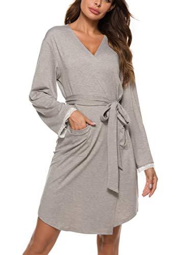 Vlazom Damen Morgenmantel V-Ausschnitt Bademantel Weich Kimono Nachtwäsche mit Taschen und Gürtel Saunamantel Schlafanzug S-XXL