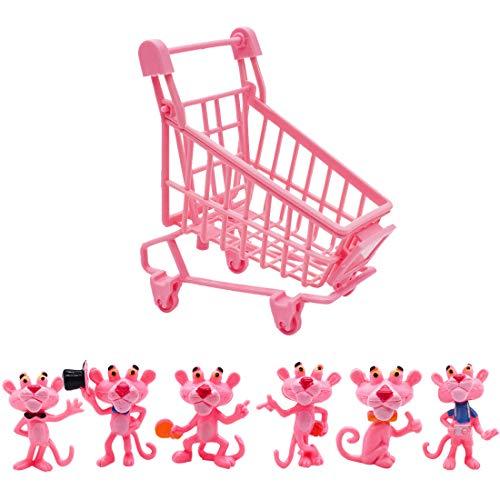 Mini Juego de Figuras Decoración para Tartas YUESEN 6pcs Pantera Rosa Caricatura Cake Topper Mini Juguetes Baby Shower Fiesta de cumpleaños Pastel Decoración Suministros para Adorno de Torta