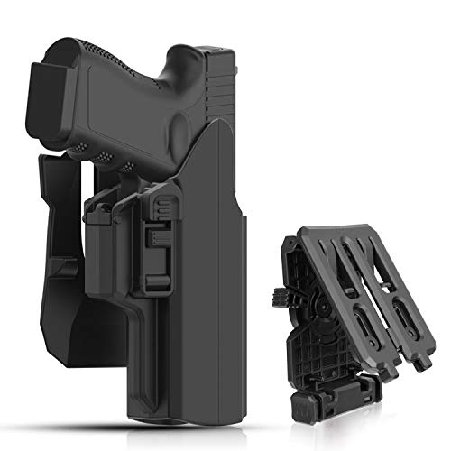 efluky Universal OWB Holster for Glock 17 19 19X 45 Outside Waistband Paddle Belt Holster Fits S&W M&P 9MM Springfield XD Beretta 92fs Full Size Pistols, 360° Adjusting Cant Tactical Holster, RH