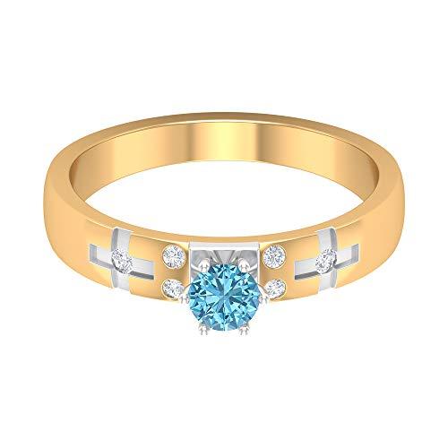Rosec Jewels - 14 Kt Weißgold Rund Leicht Getöntes Weiß/Top Crystal (I) Künstlicher Aquamarin. Diamant