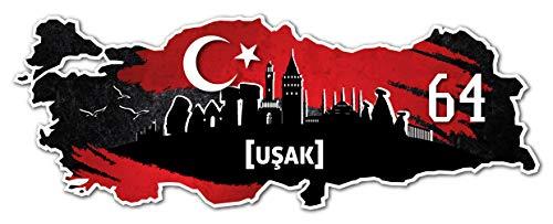 Aufkleber Sticker Türkei 64 Usak Motiv Fahne für Auto Motorrad Laptop Fahrrad