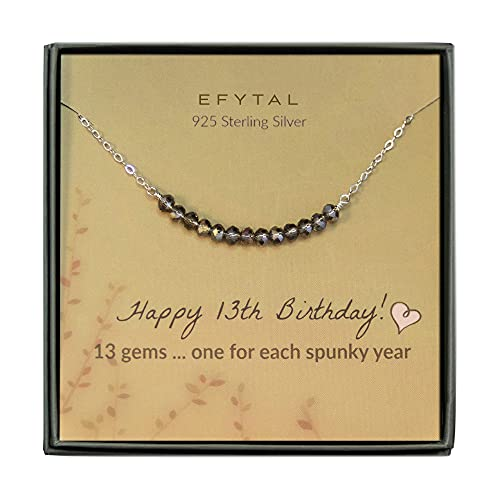 EFYTAL 13th Birthday Gifts for Girls, Sterling Silver Necklace, 13 Beads for...