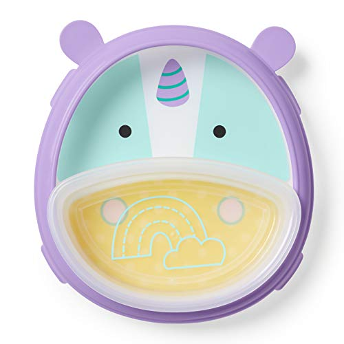 Skip Hop Baby Self-Feeding Training Dishes: Microwave and Dishwasher Safe Training Plate, Unicorn
