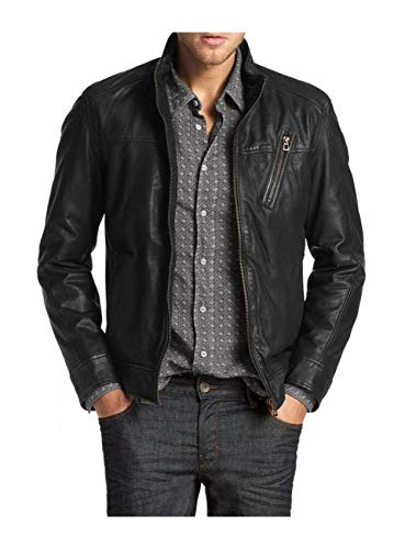 Laverapelle Men's Genuine Lambskin Leather Jacket (Black, Medium, Color Cotton Lining) - 1501210