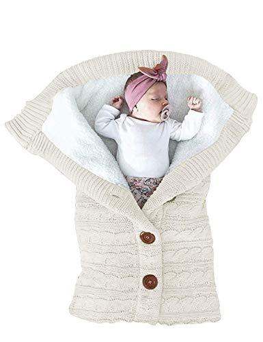FIRENGOLI Saco de Dormir Unisex para Bebés Recién Nacidos Manta para Bebé Carrito de Bebé Blanket Manta para 0 ? 18 Meses (White)