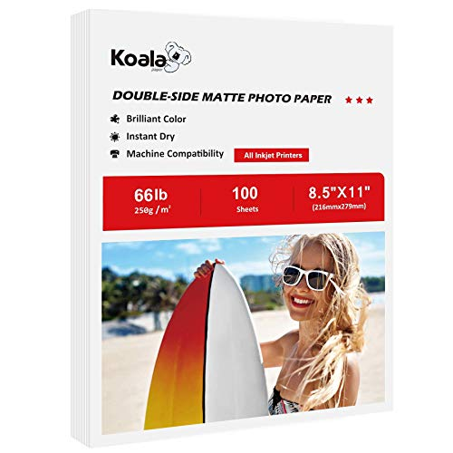 Koala Heavyweight Inkjet Printer Paper for Printing Greeting Card, Paper Placemat, Craft Projects and Signage, Double Side Printable, Matte 8.5X11 inches 100 Sheets 66lb