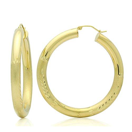 Little Treasures 14ct Oro Pendientes de aro 5mm x 0.8cubilete redondo Diamante & Satén Accents Oro Amarillo Pendientes De Aro