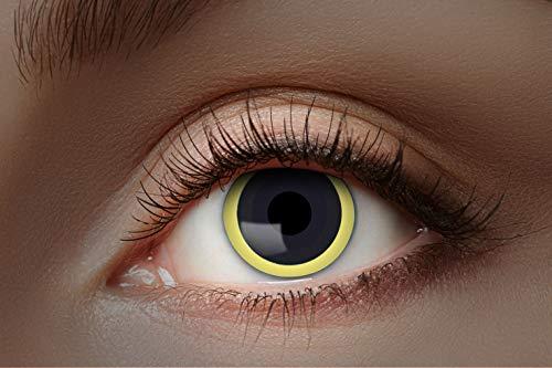 Zoelibat UV farbige Kontaklinsen für 12 Monate, 2 Stück, BC 8.6 mm / DIA 14.5 mm, Jahreslinse in Markenqualität für Halloween, Fasching, Karneval, gelb/schwarz