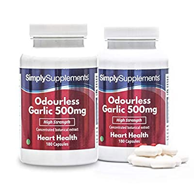 SimplySupplements High Strength Garlic 500mg   2x 180 (360) Capsules   100% money back guarantee   Manufactured in the UK from Simply Supplements