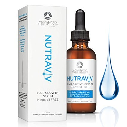 NutraViv Hair Growth Serum - Powerful Hair Loss Treatments for Thicker Fuller Hair for Men and Women including Regrowth and Scalp Health - Guaranteed Results - Hair Thickening Products 4-6 Week Supply