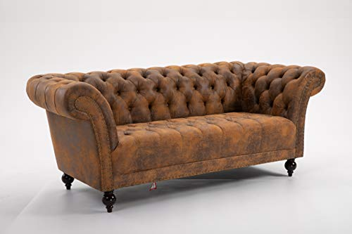DProT Handmade Pu-Leather Chesterfield Sofa Armchair 1.5, 2 or 3 Seater Settee (3 Seater Sofa Brown)