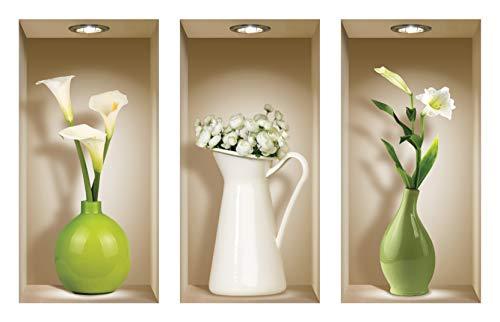 Die entfernbaren Nisha Art Magic 3D-Vinyl-Wandabziehbilder zum Selbermachen, 3er-Set,Grüne und weiße Vasen