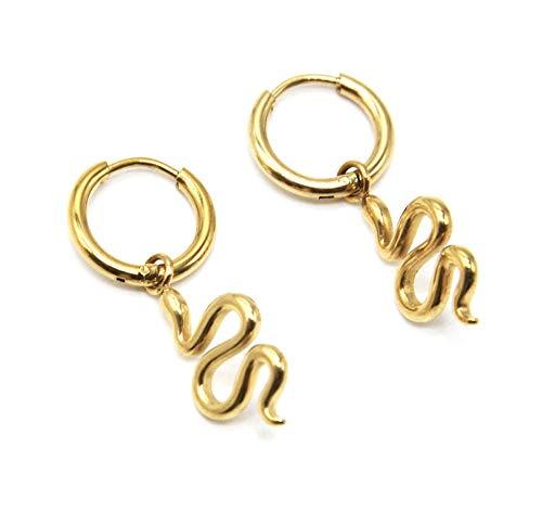 BO1879 – Pendientes de mini aros con serpiente, acero dorado