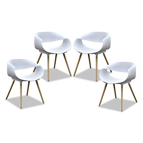 Purenity New Aesthetic Style Streamline Design Modern Dining Arm Side Chairs Set of 4 (White)