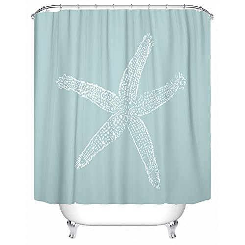 Accrocn Waterproof Shower Curtain Curtains Fabric Vintage Starfish Illustration Pastel Seafoam Blue Extra Long 72x78 Inches Decorative Bathroom Odorless Eco Friendly