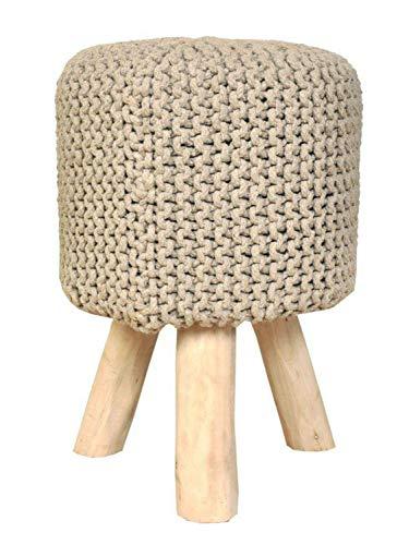 casamia Sitzhocker Strick-Hocker Pouf Schemel Ø 35 cm Höhe 45 cm mit Holzfüßen viele Farben Farbe beige