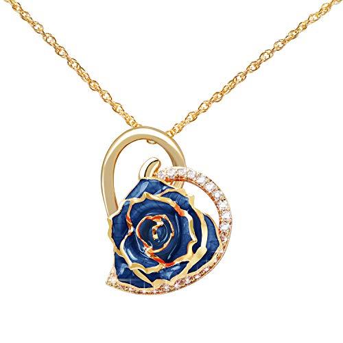 HEEPDD Collar de Flores Rosas, Collar de Diamantes de imitación 24K C