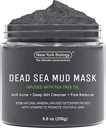 New York Biology Dead Sea Mud Mask Infused with Tea Tree - Spa Quality Pore Reducer to Help with Acne, Blackheads and Oily Skin Tightens Skin for A Healthier Complexion - 8.8 oz