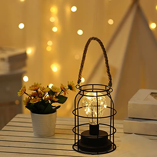 Jabroyee - Linterna LED de metal con pilas, 7 de alto, lámpara de mesa de hierro con cuerda de cáñamo para bodas, fiestas, patio, eventos para interiores y exteriores