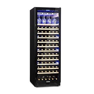 Klarstein Vinovilla Grande Onyx Wine Fridge - 433 L, 165 Wine Bottles, EEC A, 3-Colour Lighting, 13 Beech Racks, Wine Glass Holder, Anti-Vibration, Touch Control, Freestanding or Built-in - Black from Klarstein