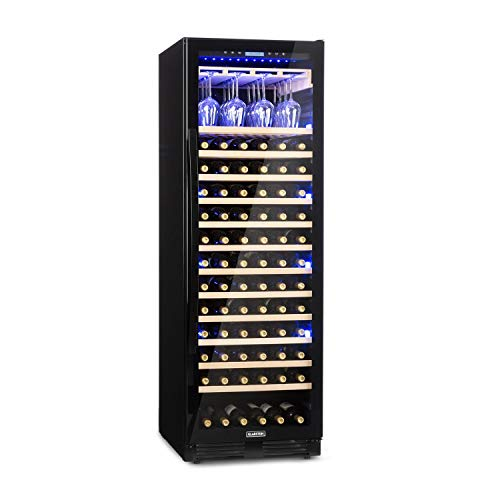 KLARSTEIN Vinovilla Grande Onyx - Frigo Vino, Cantinetta, 433 L, 165 Bottiglie, Classe G, Illuminazione Interna 3 Colori, 13 Ripiani in Faggio, Porta Calici, Antivibrazione, Touch, Incasso, Nero