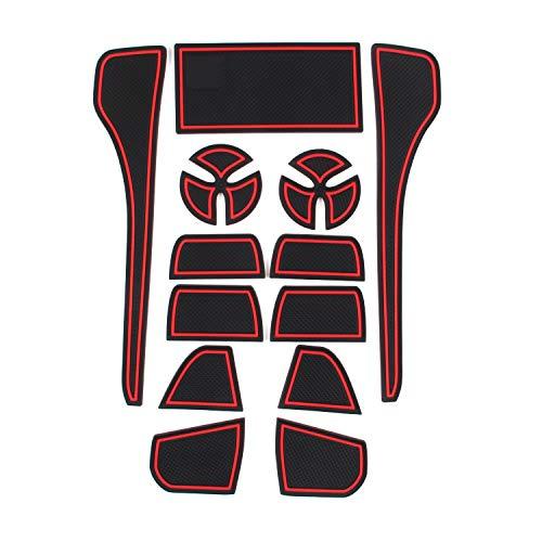 Auto Spec トヨタ 新型クラウン 220系専用 2018.06-現行 インテリアラバーマット ゴムマット ドアポケットマット コンソールマットCROWN ドレスアップパーツ 滑り止めマット 13PCS (赤)