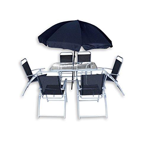 Bagno Italia Arredo da Esterno Tavolo con 6 sedie in Ferro ombrellone Blu Arredamento Giardino I