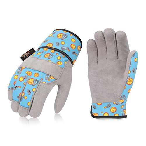 Vgo Kinder 2-4 J.A, Kinderarbeits- und Gartenhandschuhe, weiche Mikrofaserhandfläche, Handrücken aus Flex, atmungsaktiv (1 Paar, Kid-XS, Blau, KID-MF3561)