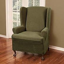 Maytex Reeves Stretch 1 قطعة T - كرسي جناح خلفي مبطن مع غطاء للأذرع وغطاء للأثاث، أخضر غامق