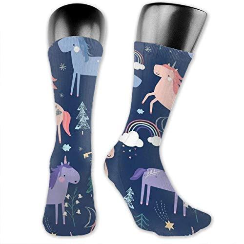 Nice-Guy Calcetines con estampado de unicornio y arcoíris Calcetines coloridos unisex para adultos-65W