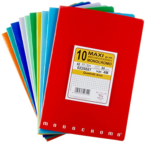 Pigna Monocromo 02298874M, Quaderno Formato A4, Rigatura 4M, Quadretti 4 mm per 4° e 5° Elementare Medie e Superiori, Carta 80G/Mq, Pacco da 10 Pezzi