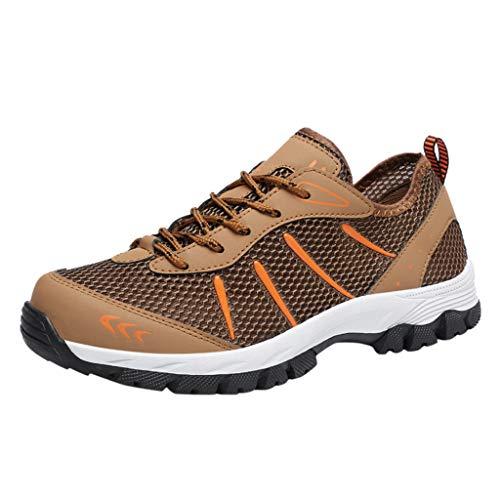 Shulky Herren Kletterschuhe Breathable Schnürschuhe Casual Turnschuhe Sportlich Outdoor Hiking Jogger Sneaker(braun,42)