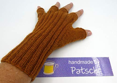Handgestrickte Halbfingerhandschuhe, Hellbraun
