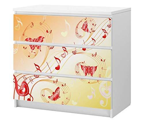 Set Möbelaufkleber für Ikea Kommode MALM 3 Fächer/Schubladen Musik Noten Schmetterlinge abstrakt rosa Kat2 Kinderzimmer ML3 Aufkleber Möbelfolie sticker (Ohne Möbel) Folie 25C2724