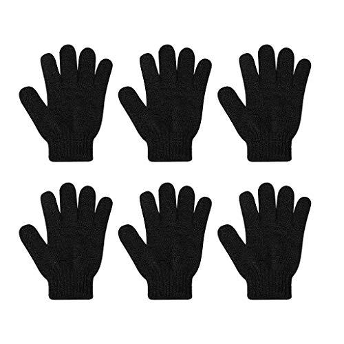 SDENSHI 6Pcs Peeling-Handschuhe Ganzkörperpeeling Dusch- oder Badepeeling Zubehör für Männer und Frauen - Schwarz