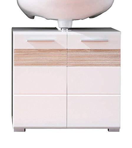 trendteam smart living Badezimmer Waschbeckenunterschrank Unterschrank Mezzo, 60 x 56 x 34 cm in Weiß Hochglanz, Absetzung Eiche Sägerau Hell Rillenstruktur (Nb.) mit viel Stauraum