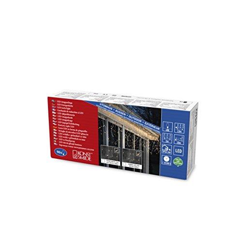 Konstsmide 2743-803 LED Eisregen Lichtervorhang / für Außen (IP44) / 96 bernsteinfarbene Dioden / 24V Außentrafo / weißes Kabel