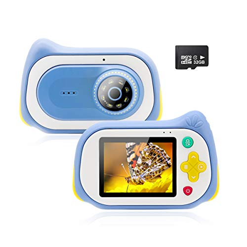 Veroyi Kinder Kamera, 15MP Digitale Video Kameras mit 200X Lupenmikroskop Video Player Recorder Kinder-Camcorder für 4-10 Jahre alte Jungen und Mädchen 32 GB Speicherkarte enthalten (Blue)