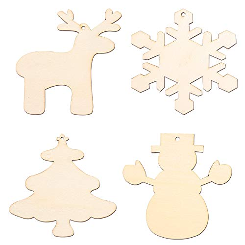 Wood Cutouts of Reindeer, Christmas Tree, Snowman, and Snowflake