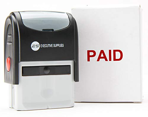Paid Stamp , Paid Rubber Stamp self Inking Stamp Paid -Red Ink Office Stamps self Inking Advanced Technology Designed for Business and Personal use by Executive Supplies